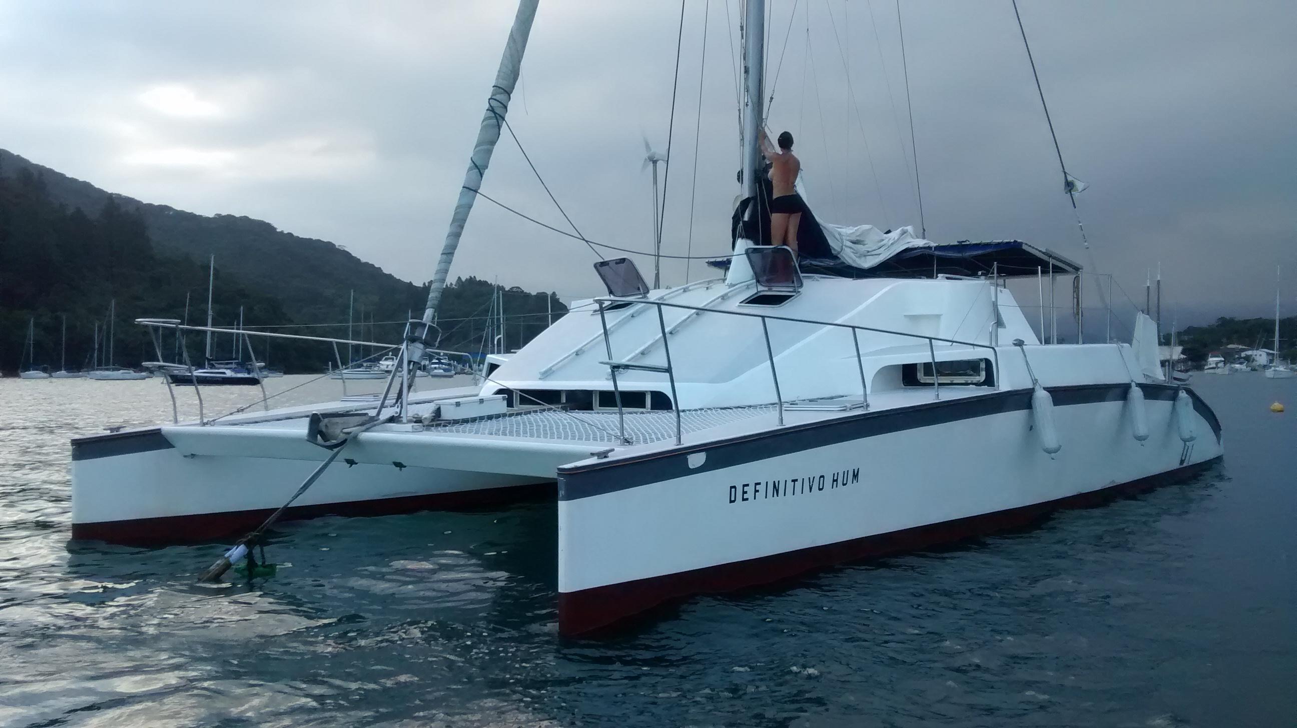 Brazil, Paraty. Catamaran sailboat