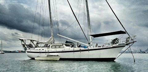Panama, Pearl Is. Classic schooner.