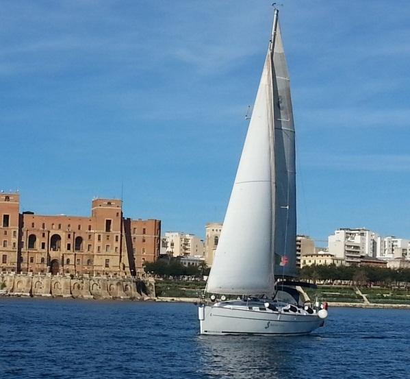 Italy, Taranto. Sail boat in Puglia