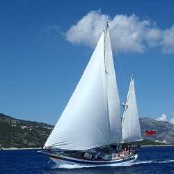 The Grenadines, Port Elizabeth. Traditional Yacht San Blas
