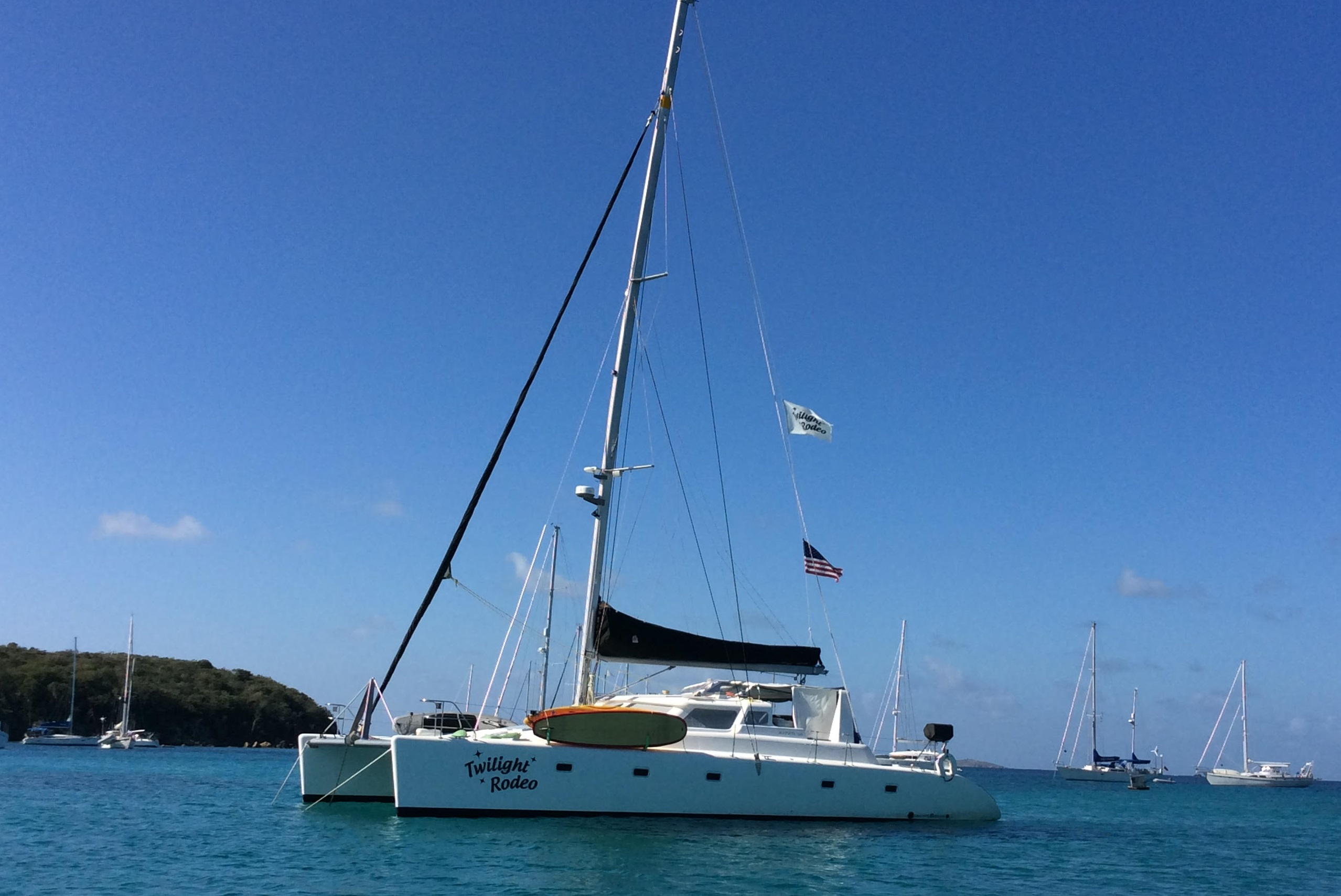 U.S. Virgin Islands, St. Thomas. Yacht Twilight Rodeo
